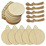 obmwang 50 Pieces Unfinished Wood Christmas Ornament, 3.5 Inch Natural Wood Slices Round Wooden Discs with Natural Twine for Christmas Hanging Decorations, DIY Ornaments