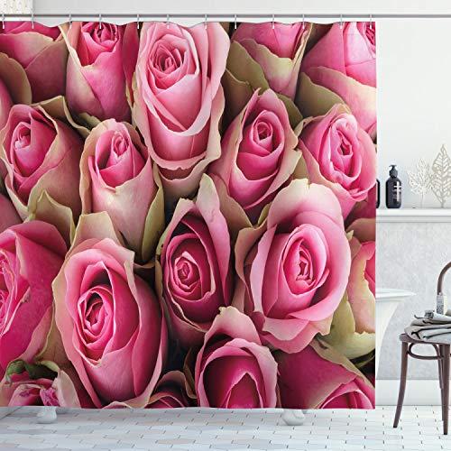 ABAKUHAUS Rose Duschvorhang, Frische Festliche Soft-Braut, Bakterie Schimmel Resistent inkl. 12 Haken Waschbar Stielvoller Digitaldruck, 175 x 200 cm, Pink Pale Green