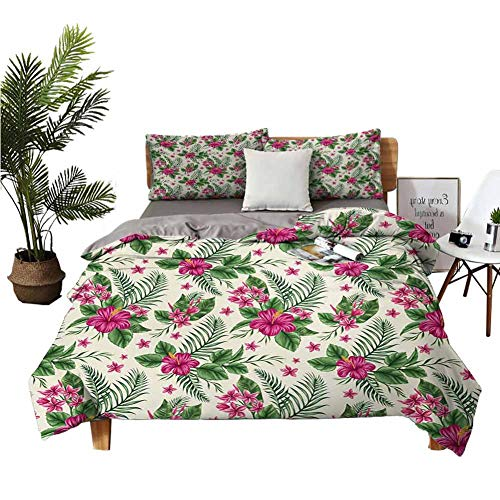Coobal Watercolor Sheet Set-3 Piece Set, Bedding Set Plumeria and Hibiscus Flora Tropical Island Nature Aloha Hawaii Jungle, Wrinkle, Fade, Stain Resistant Washed Magenta Cream Green