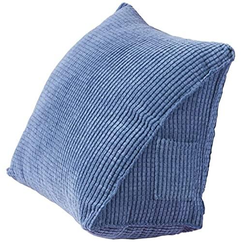 Almohada Triangular De Pana con Soporte para La Espalda, Respaldo De Cuña Suave con Bolsillos Laterales Pequeños Sofá Cama Silla De Oficina Lectura Trabajo Descanso Adultos Niños,Azul