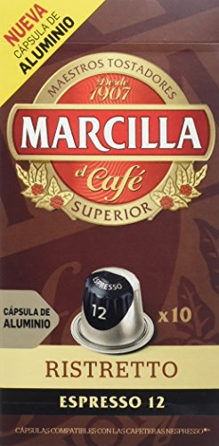 Marcilla Café Espresso Ristretto - Intensidad 12 - 10 Cápsulas de aluminio compatibles con cafeteras Nespresso®* - 10 Unidades