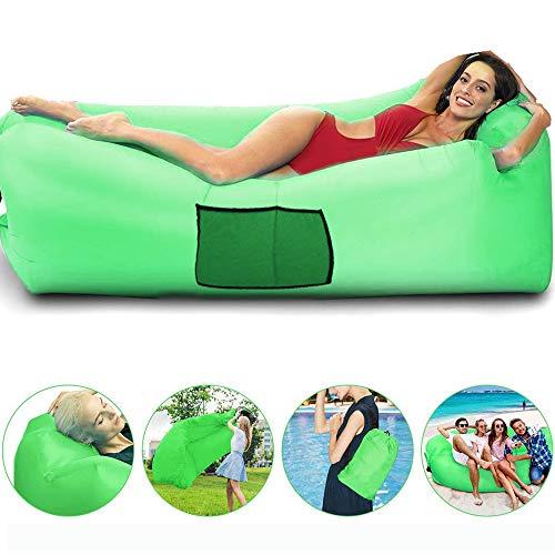 Wasserdichtes aufblasbares Sofa Luft Sofa Couch Air Lounger Perfekt für Wanderausrüstung, Strandkorb und Musikfestivals (Grün)