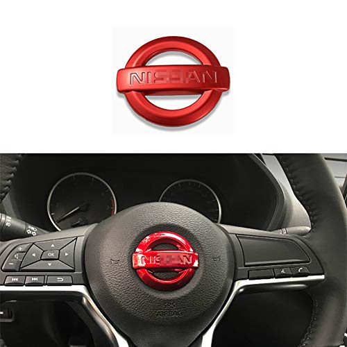 MAXDOOL Carbon Fiber Steering Wheel Cover Sticker Sequins Frame Trim for Nissan Rogue Altima Sentra Kicks LEAF Versa Maxima Pathfinder Interior Accessories(Red)