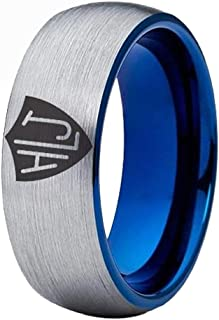 Cloud Dancer Free Custom Engraving 8mm Width CTR Spanish HLJ Ring Black Pipe or Silver Brushed Dome and Blue Inside to Choose