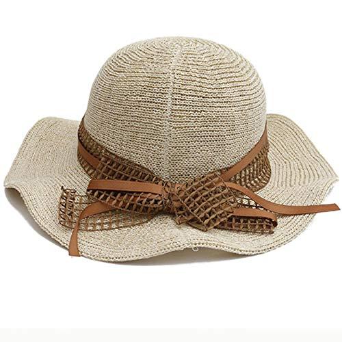 Sombreros de primavera y verano para mujer Sombreros de punto para mujer Sombrero de cubo liso liso Sombrero de Corea Estilo Sombrero de paja de playa empacable-Beige_56-58cm