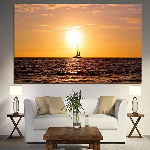 jiushice Modern Sunset Seaview Boat Landscape Poster HD Print Abstract Beach Seascape Oil ng On Canvas Wall Picture For Living Room 2 50x70 cm