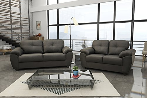 New Carlos 3 + 2 Seater Sofa Set Black or Brown Faux Leather (Black, Faux Leather)