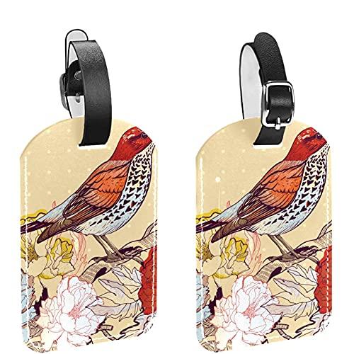 Juego de 2 etiquetas para equipaje de viaje con diseño de pájaros de primavera vintage
