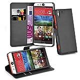 Cadorabo Hülle für HTC Desire Eye - Hülle in Phantom SCHWARZ – Handyhülle mit Kartenfach & Standfunktion - Case Cover Schutzhülle Etui Tasche Book Klapp Style
