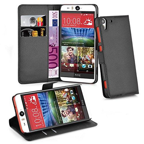 Cadorabo Hülle für HTC Desire Eye - Hülle in Phantom SCHWARZ – Handyhülle mit Kartenfach und Standfunktion - Case Cover Schutzhülle Etui Tasche Book Klapp Style