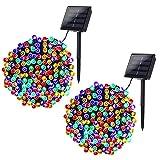 Joomer 2 Pack Solar Christmas Lights 72ft 200 LED 8 Modes Solar String Lights Waterproof Solar Fairy...