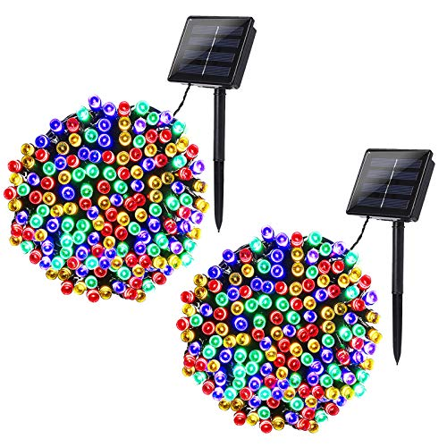 Joomer 2 Pack Solar String Lights 72ft 200 LED 8 Modes Outdoor String Lights Waterproof Solar Fairy Lights for Garden, Patio, Fence, Balcony, Outdoors (Multicolor)