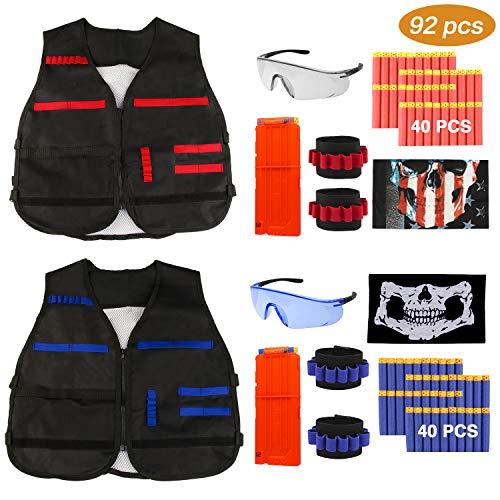 WisFox 92 Pack Taktische Weste Jacke Set Nerfe N-Strike Elite Set,Taktische Weste, Nerfe Zubehör Set Kids Tactical Vest mit 80 er Darts +2 Nerfe Brille + 2 Schnellladeclips + 2 Maske + 4 Armbände