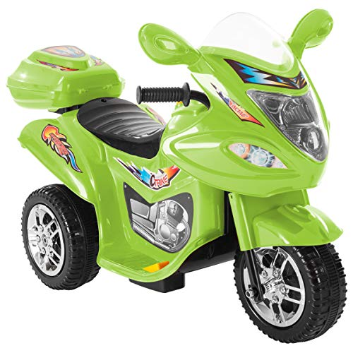 Lil' Rider Ride-On Toy Trike Motorcycle –Battery Operated Electric Tricycle for Toddlers with Built-in Sound and Working Headlights (Green)