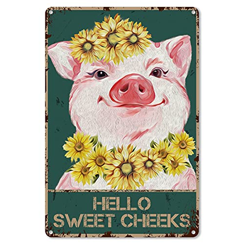 Funny Bathroom Quote Metal Tin Sign Wall Decor - Vintage Hello Sweet Cheeks Pig Foral Tin Sign for Toilet Bathroom WC Washroom Decor - Best Farmhouse Decor Gift for Women Men Friends - 8x12 Inch