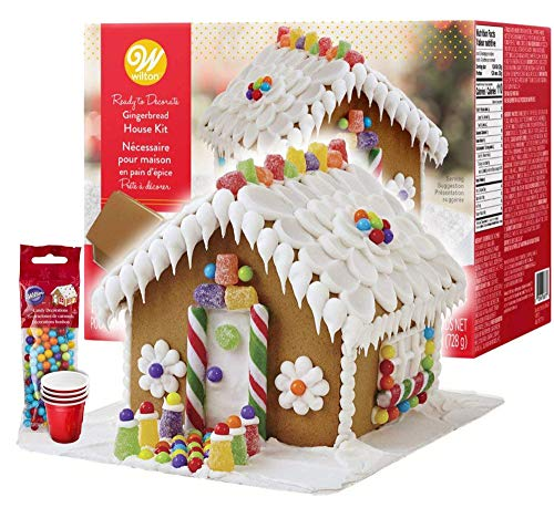 Gingerbread House Kit - Christmas Traditional Gingerbread House Decorating Kit, Pre-assembled - Includes Ready House, 4 Types of Candies, White Icing, Decorating Bag & Tip. Bundled With (4) SEWANTA Candy Cup Holders