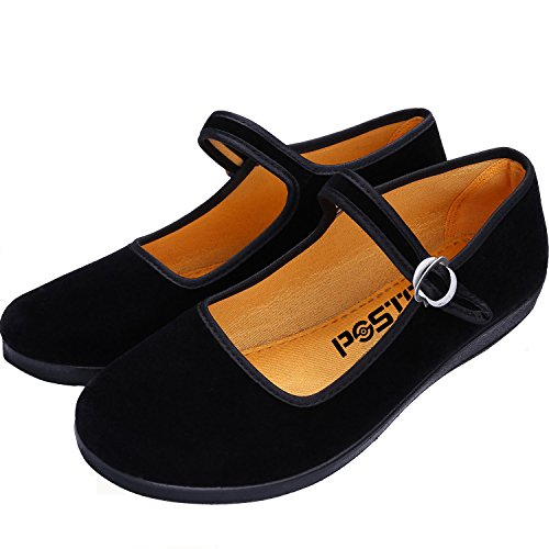 pestor Velvet Mary Jane Shoes Ballerina Ballet Flats Yoga Exercise Dance Shoes (Numeric_7_Point_5) Black