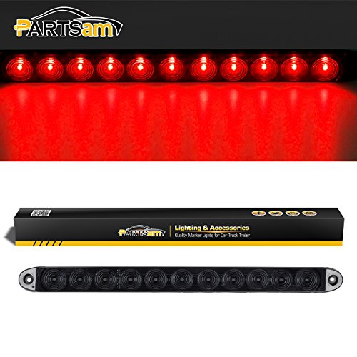 "Partsam 15"" Smoke/Red 11 LED Waterproof Car Trailer Truck Stop Turn Tail Brake Light Bar Identification Light, Thin Line Smoked Red led strip light ID Bar"