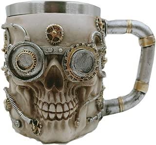 Skull Beer Coffee Mug Stainless Steel Viking Warrior Skull Beer Mugs Mechanical Gear Pipeline Design Beer Stein Tankard Drink Cup for Men, Halloween Decor - 13oz