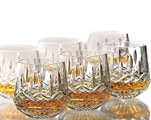 King international - Verres 100 % en cristal avec base lourde - Lot de 6 verres à whisky incurvés - Idéal pour whisky, vodka, tequila, etc - Accessoires de bar