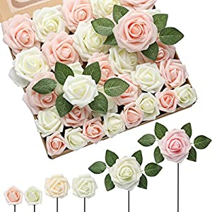 DerBlue 60pcs Three Different Sizes Artificial Roses Flowers Foam Roses Bulk w/Stem for DIY Wedding Bouquets Corsages Centerpieces Arrangements Baby Shower Cake Flower Decorations (Cream&Blush)