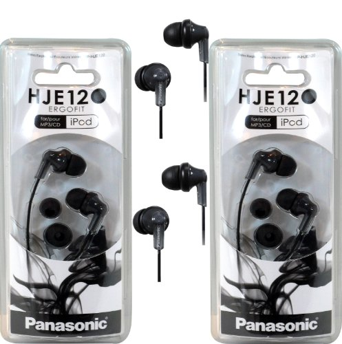 Panasonic RPHJE120 in-Ear Headphone, (2 Pack, Black)