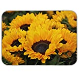 Absorbent Dish Drying Mat Flower Bush Sunflower Kitchen Counter Mat Protector,Reversible,Medium 18 x 16 Inches