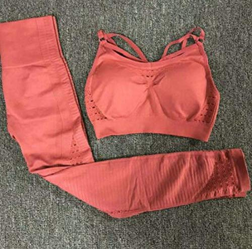 BKHBJ Trajes Deportivos Conjunto de Yoga sin Costuras Ropa de Fitness para Mujer Ropa Deportiva Mujer Leggings de Gimnasio Sujetador Deportivo con Tiras y Push-up Acolchado