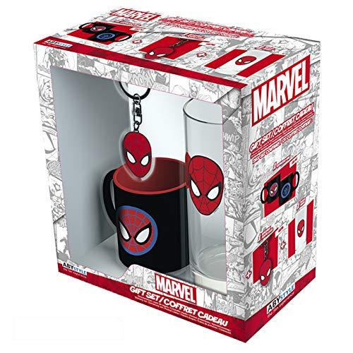ABYstyle - Marvel - Spiderman - Geschenk Box - Spider Man Kopf - Glas + Schlüsselanhänger + Mini Tasse