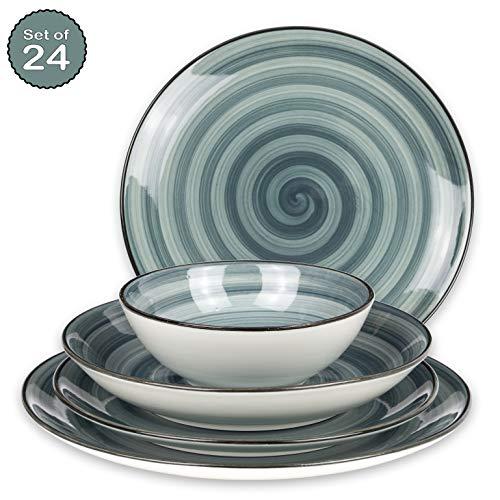 Geschirrset 24-teilig aus Porzellan für 6 Personen - Tiefe Suppenteller, Flache Essteller, Dessertteller und Schüsseln - Hochwertiges modernes buntes Vintage Tafelservice Kombiservice - Türkis