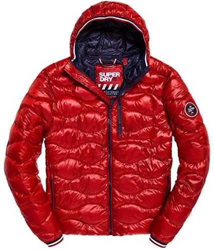 Superdry Men's Wave Quilt Jacket, Bright red, L