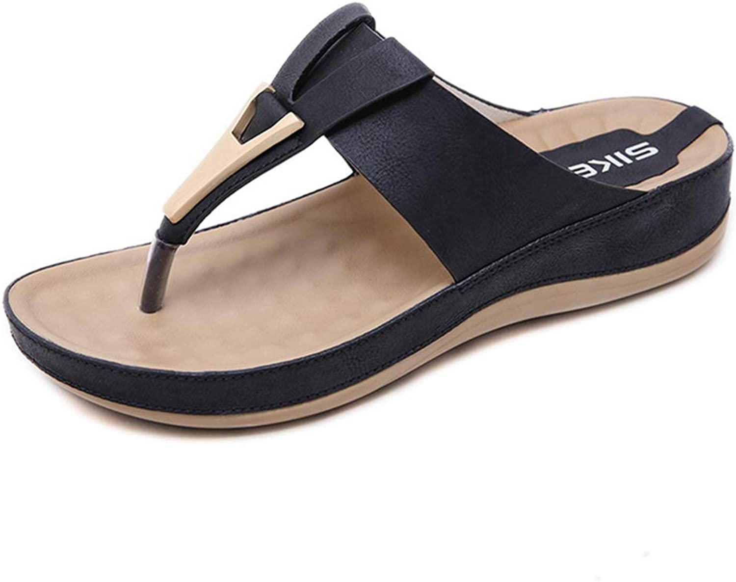 GIY Women's Thong Flip Flops Platform Sandals Casual Comfort Outdoor Orthotic Arch Support Flat Wedges Slippers