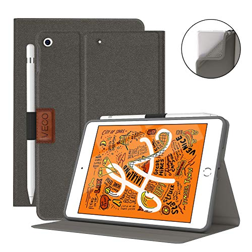 VECO iPad Mini 5 Case with Pencil Holder,Denim Series - Premium Shockproof Case with Auto Sleep/Wake Feature for iPad Mini 5th Generation (Taupe)