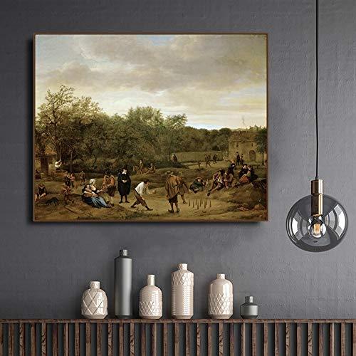 Rahmenlose dekorative Leinwandmalerei der Künstlerfamilie des Bauern, gespielt von Jan Sting Canvas im Kegelspiel A15 40x60cm