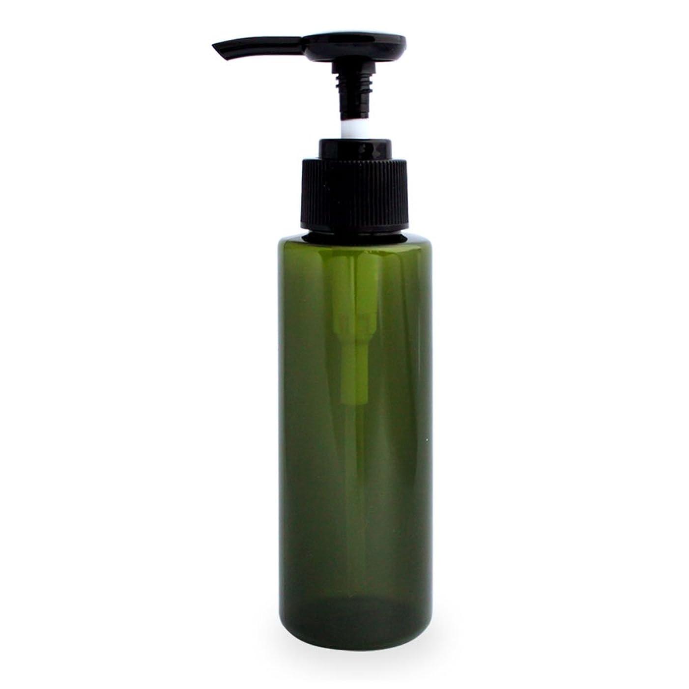 頻繁にカルシウム不当ポンプボトル100ml(グリーン)(プラスチック容器 オイル用空瓶 プラスチック製-PET 空ボトル プッシュポンプ)