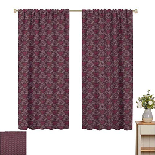 Wear Pole Curtains Bedroom Insulation Curtain Ornamental Royal Victorian Garden Leaves with Little Blossoms Dark Brown Magenta and Mauve Room Darkened Set of 2 Panels W55 x L39