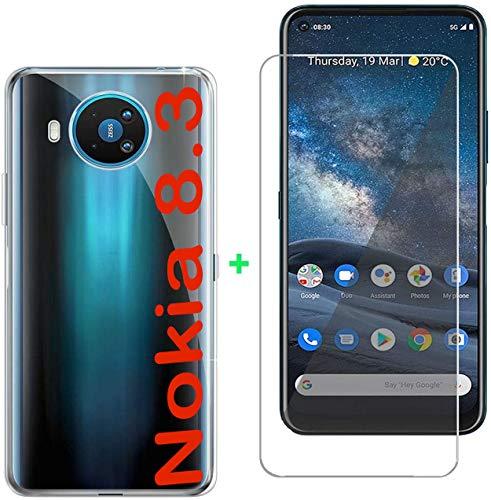 tomaxx Schutzhülle für Nokia 8.3 5G + PANZERGLAS Hülle Hülle Silikon Durchsichtig transparent kompatibel mit Nokia 8.3 5G