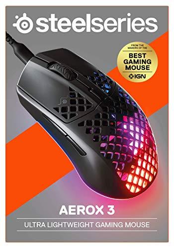 SteelSeries Aerox 3 – Superleichte Gaming-Maus – Optischer TrueMove Core Sensor mit 8.500 CPI– Ultraleichtes, wasserfestes Design – Schwarz - 8