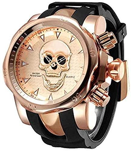Panduo YLB Reloj de cráneo con Personalidad Hombre Silicone Reloj de Cuarzo con Esfera Grande SmartWatches 2021 Reloj multifunción
