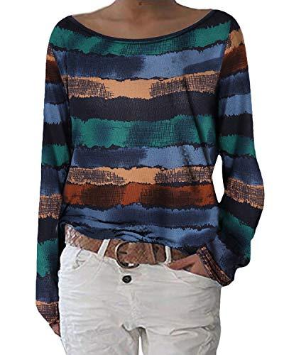 ZANZEA Damen Langarmshirts Lose Blumen Bluse U-Ausschnitt Oversize Sweatshirt Oberteil 01-blumen6 EU 36-38/Etikettgröße S
