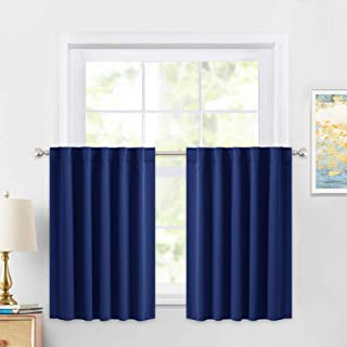 PONY DANCE Kitchen Curtain Tier – Rod Pocket Blackout Panels Window Covering Small..