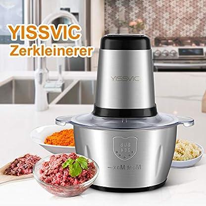 YISSVIC-Zerkleinerer-Universalzerkleinerer-2L-500W-Elektrisch-Multi-Zerkleinerer-mit-2-Geschwindigkeitsstufen-4-Edelstahlmesser-fuer-Fleisch-Gemuese-Obst-Babynahrung