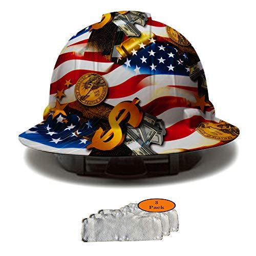 Full Brim Hard Hat, Hydrodipped American Flag Money Design Safety Helmet 4pt + 3pk Beige Hard Hat Sweatband, by AcerPal