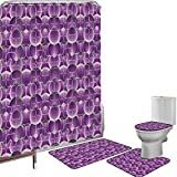 Juego de cortinas baño Accesorios baño alfombras Retro Alfombrilla baño Alfombra contorno Cubierta del inodoro Patrón Trippy vintage con círculos internos y cuadrados Kitsch Ornamental Urban Style Dec