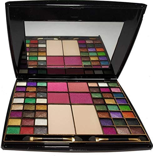 HALF N' HALF MAKEUP KIT 48 COLOR EYESHADOW WITH BLUSHER COMPACT POWDER, BY R K STORE NET