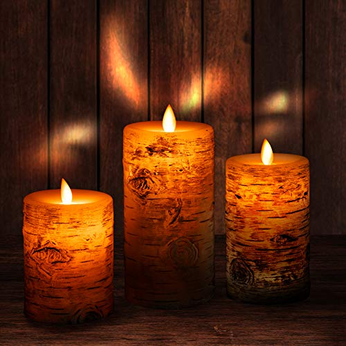 "Flameless Candles Battery Operated Flickering Candles with Real Wax Pillar, Remote Control, 24-Hour Timer Function, Realistic Dancing LED Flames, 4"" 5"" 6"" Pack of 3"