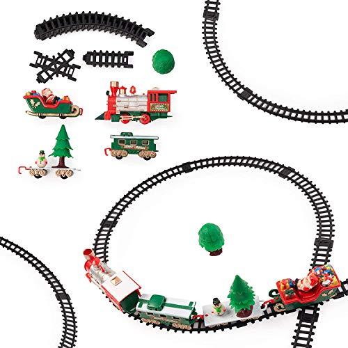 Juego de Tren Eléctrico - 22 piezas, ideal para regalo de Navidad, juguete favorito para niños con sonidos realistas.