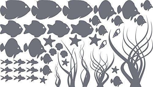 GRAZDesign Wasserfeste Fliesen Aufkleber Unterwasser Welt, Badezimmer Dekoration Aquarium, Wandtattoo Badezimmer Meer Ozean Nordsee Ostsee / 100x57cm 071 grau