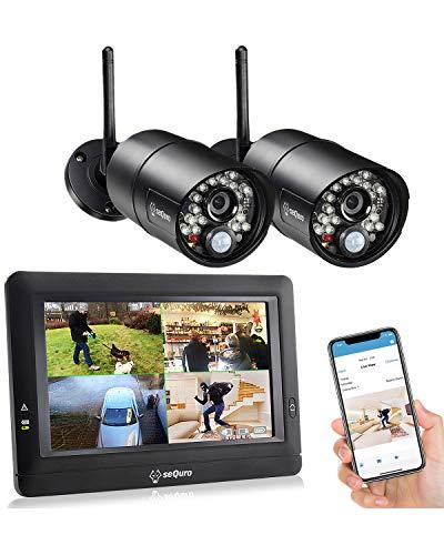 Sequro GuardPro DIY überwachungssystem mit Tragbar Einfach zu verwenden 7-Zoll Funk-Touchbildchirm. 1 HD 720p Sicherheitskameras. IP66/Wetterfest Kameras (720P, Set - 2 Kamera)