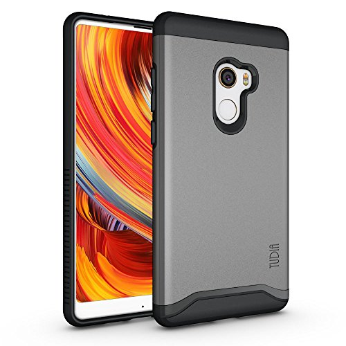TUDIA Xiaomi Mi Mix 2 Hülle, Slim-Fit Merge Dual Layer Schutzhülle für Xiaomi Mi Mix 2 (Metallic Slate)